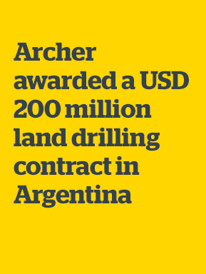 Archer awarded a USD 200 million land drilling contract in Argentina