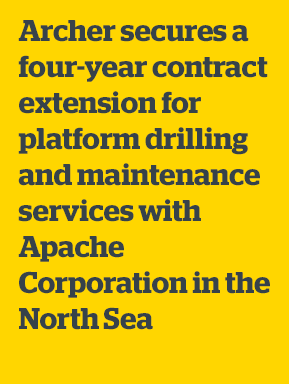 Archer secures a four-year contract extension for platform drilling and maintenance services with Apache Corporation in the North Sea