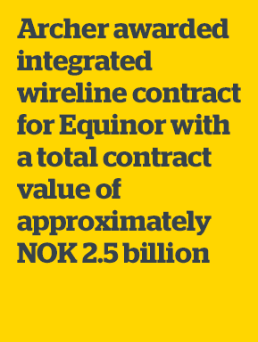 Archer awarded integrated wireline contract for Equinor with a total contract value of approximately NOK 2.5 billion